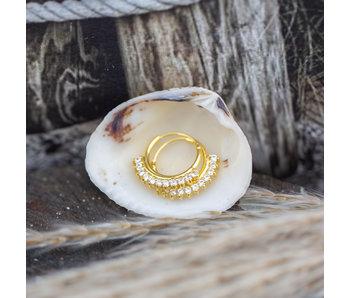 KARMA Goud oorbellen met kleine crystal steentjes