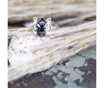 Beadle Zilver ring met tijger kop