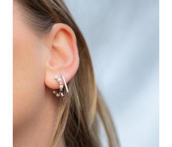 KARMA Echt zilver oorbellen vierkant of met parels