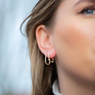KARMA Goud oorbellen vierkant of met parels
