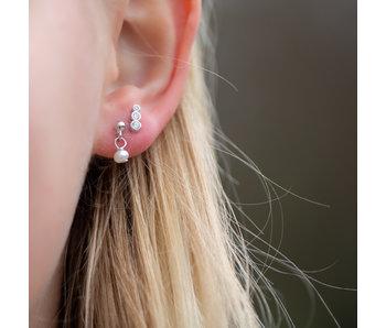 KARMA Echt zilver oorbellen parel of crystal oorstekers