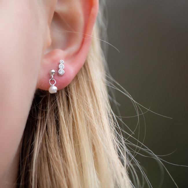 KARMA Echt zilver oorbellen parel en crystal oorstekers