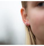 Go Dutch Label Zilver oorringen met zwarte steentjes