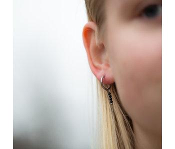 Go Dutch Label Creolen zilver oorringen met zwarte steentjes