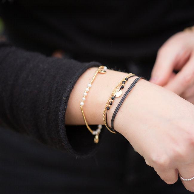 Go Dutch Label Armband zwart driedubbel
