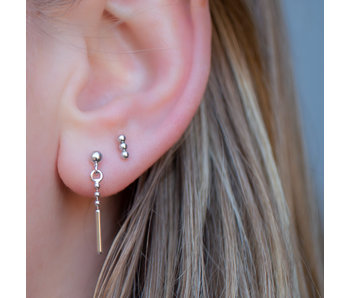 KARMA Zilver oorbellen bolletje met staafje