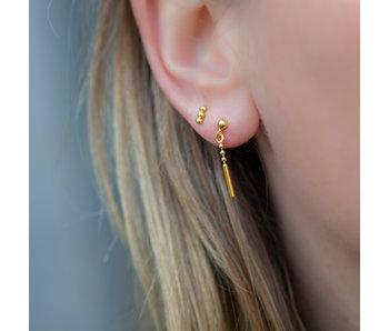 KARMA Goud oorbellen met staafje en bollletjes oorstekers