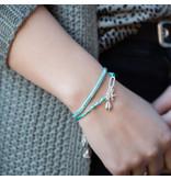 Biba Zomerse turquoise armbanden met schelp en zeester