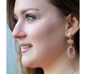 Biba Matgoud lange oorbellen met nude schijf