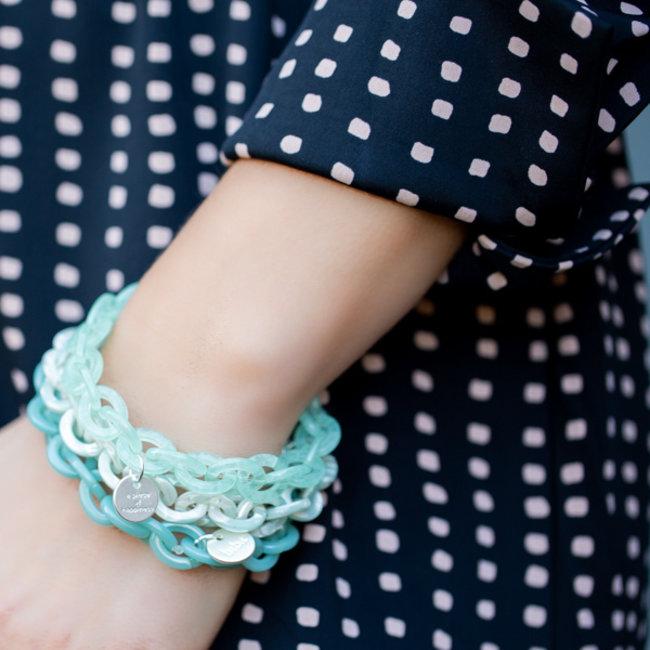 Biba Blauw mint  turquoise armbanden schakels