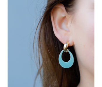 Biba Goud met grijs turquoise resin ovaal oorbellen