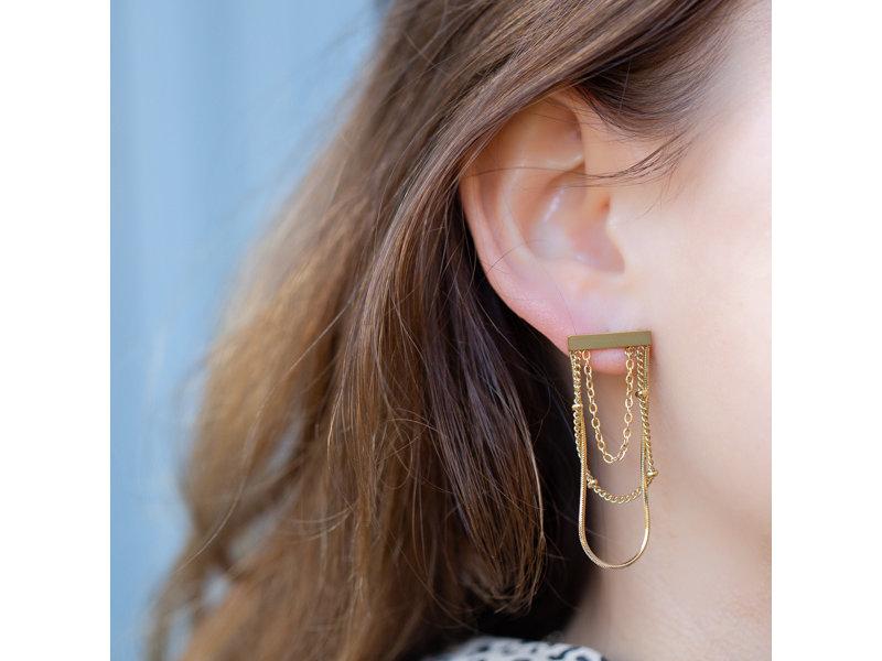 Go Dutch Label Goud oorbellen tube met kettingen