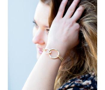 Biba Schakel armband met open rondje groot matgoud
