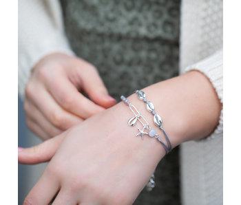 Biba Zilver grijze combi armbanden met schelp