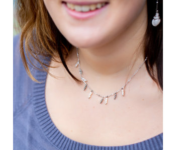 Go Dutch Label Zilver ketting met parel hangers