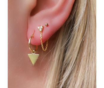 KARMA Goud oorstekers met ketting chain en driehoek