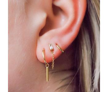 KARMA Goud oorbellen met rond staafje tube