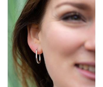 Go Dutch Label Zilver oorbellen minimal rechthoek