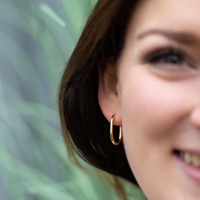 Go Dutch Label Goud oorbellen minimal rechthoek