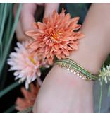 ZAG  Bijoux Goud dubbele armband groen met muntjes