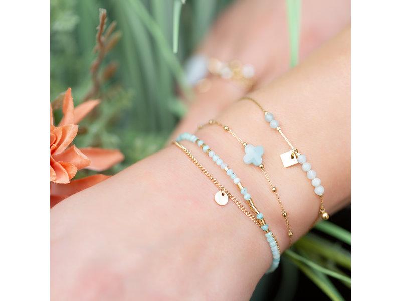 ZAG  Bijoux Goud armbanden met klaver amazoniet