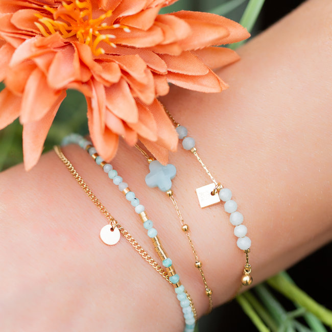 ZAG  Bijoux Goud armbanden met klaver en steentjes