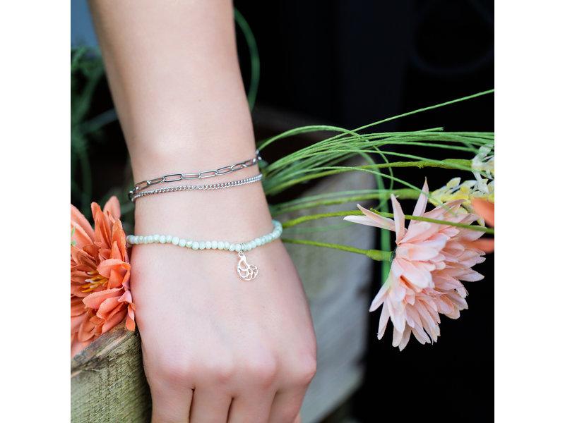 Go Dutch Label Armbanden set met schakels en schelp lichtblauw