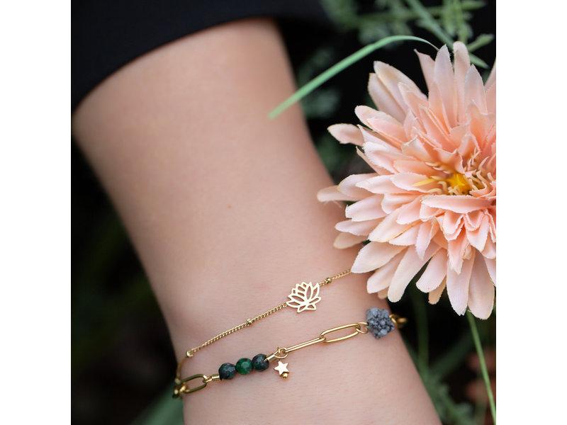 Go Dutch Label Set schakelarmband met natuursteen en lotusbloem