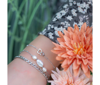 Go Dutch Label Stoere zilver schakelarmband of parels en hart