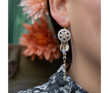Biba Gypsy bohemian oorbellen creme wit bloem