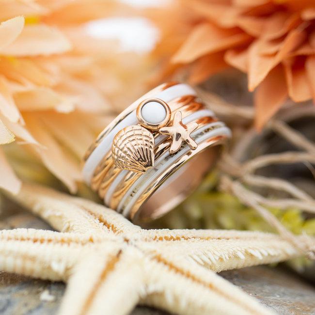 IXXXI Complete ixxxi rosegoud ring met schelp en zeester