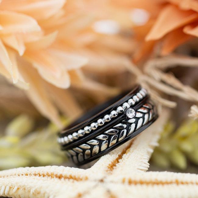 IXXXI Complete IXXXI ring zilver zwart knot steentje