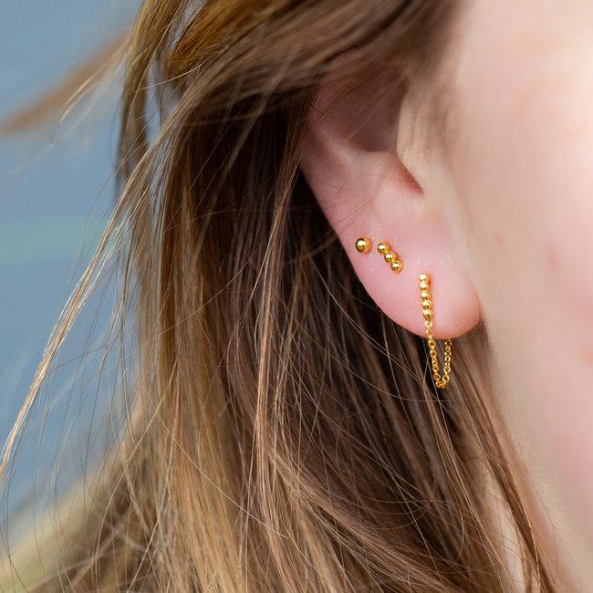 KARMA Goud bolletjes oorbellen met ketting