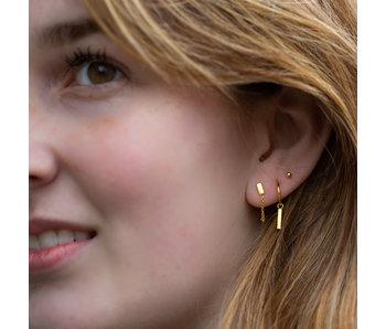 KARMA Goud oorbellen rechthoek met ketting
