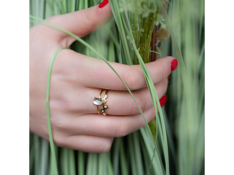 Charmins Ring goud bubbels crystal