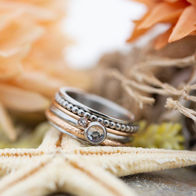 IXXXI Complete ixxxi ring zilver rosegoud mini steentje