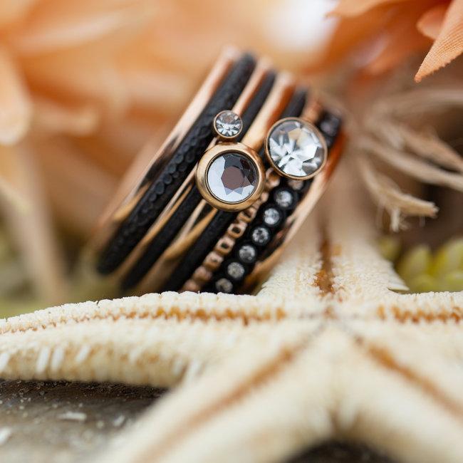 IXXXI Complete ring rosegoud met veel stenen