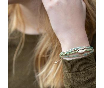 Biba Grijs groen armbanden set met schelp
