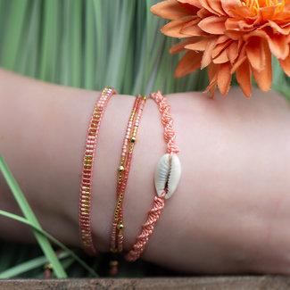 Biba Roze met goud armbanden set met schelp