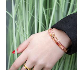 Biba Roze met goud armbanden set geweven