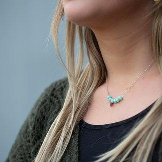 ZAG  Bijoux Ketting zilver met turquoise facetkralen