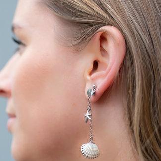 Go Dutch Label Lange oorbellen met schelp zilver