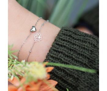 Go Dutch Label Zilveren armband hartje of lotusbloem
