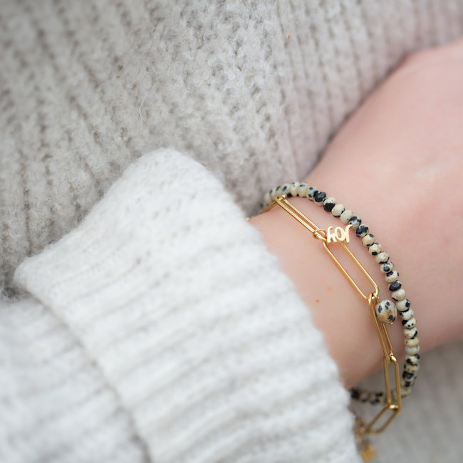 By Jam Gioielli Goud armband set dalmatian jasper
