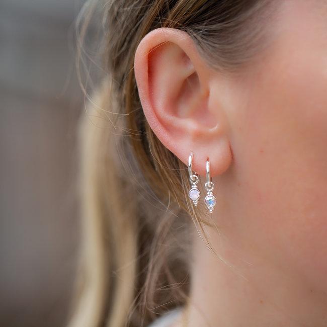 Biba Zilver roze en crystal  oorbellen