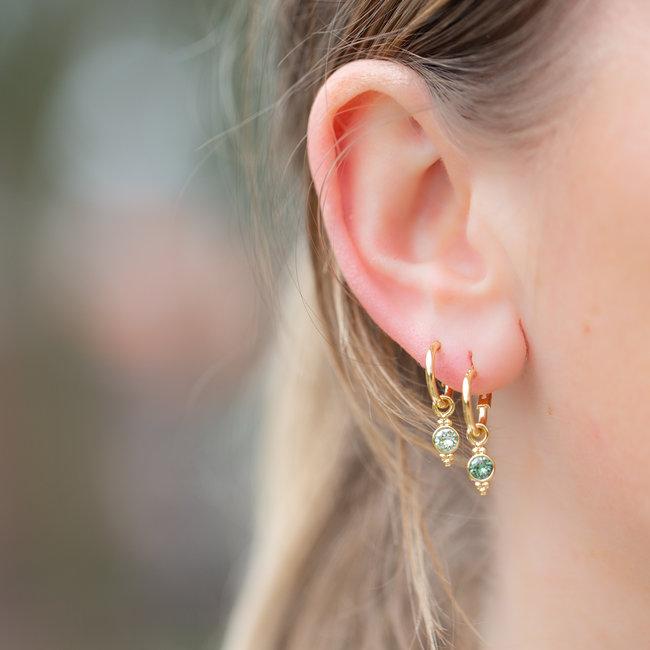 Biba Biba gouden oorringen met een crystal steen in donkergroen en mintgroen