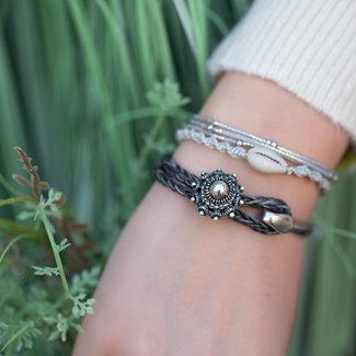 Zeeuws Grijze leren zeeuwse knop armband