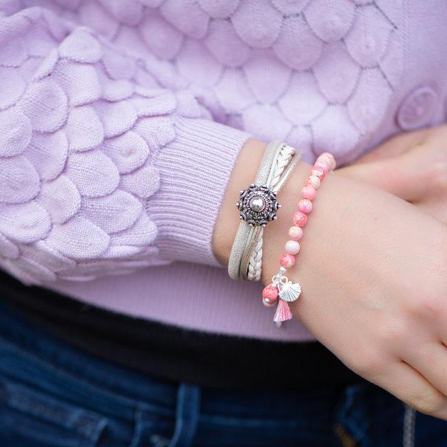 Zeeuws Creme beige zeeuwse knop armband