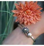 Zeeuws Bruin leren zeeuwse knop armband