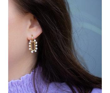 By Jam Gioielli Gouden oorringen met parels